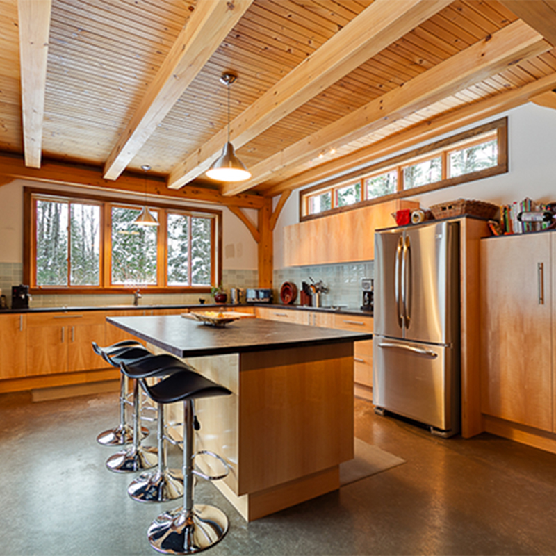 Kitchen of twisted frame house in Cantley Quebec