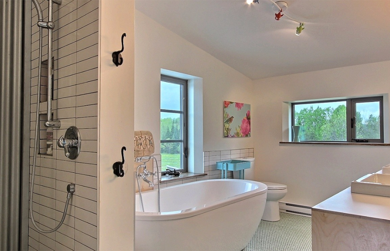 Bathroom of passive farm house in Wakefield Quebec