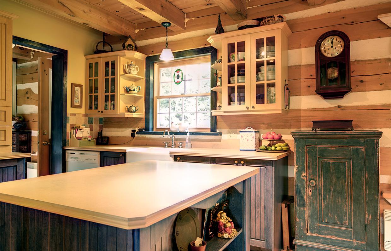 Kitchen of log house in Val-Des-Monts Quebec