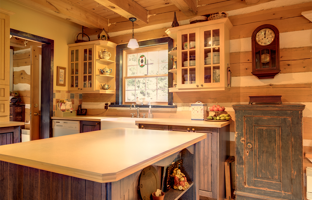 Kitchen of log house in Val-Des-Monts Quebec