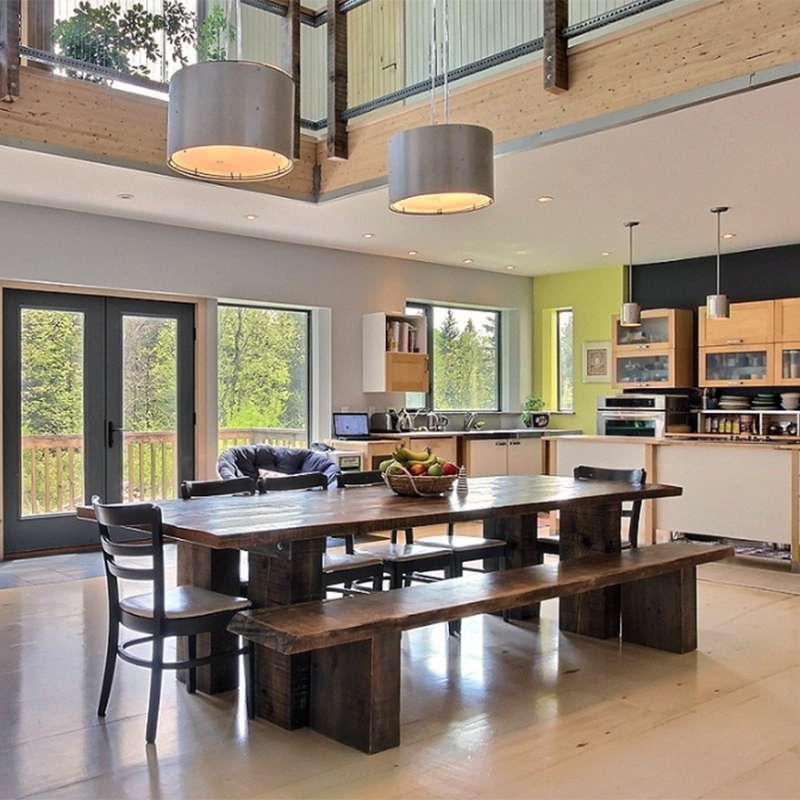 Kitchen of passive farm house in Wakefield Quebec