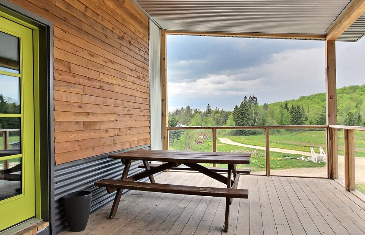 Porch of passive farm house in Wakefield Quebec