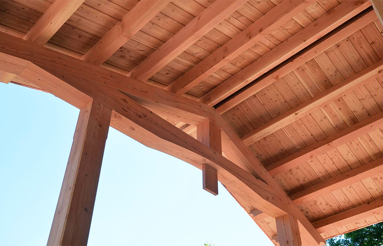 Underneath post-and-Beam porch in Chelsea, Quebec